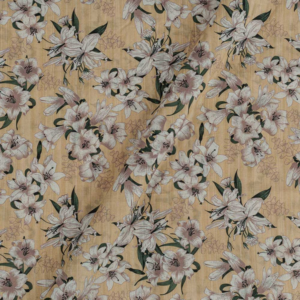 Cotton Mal [80 x 120] Cream Yellow Colour Floral Print Fabric