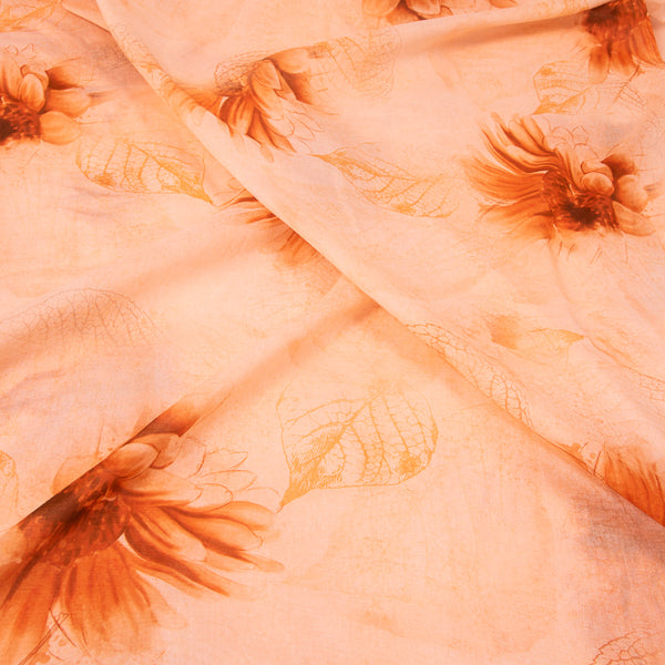 Peach Orange Colour Floral Butta Print Cotton Mal Fabric