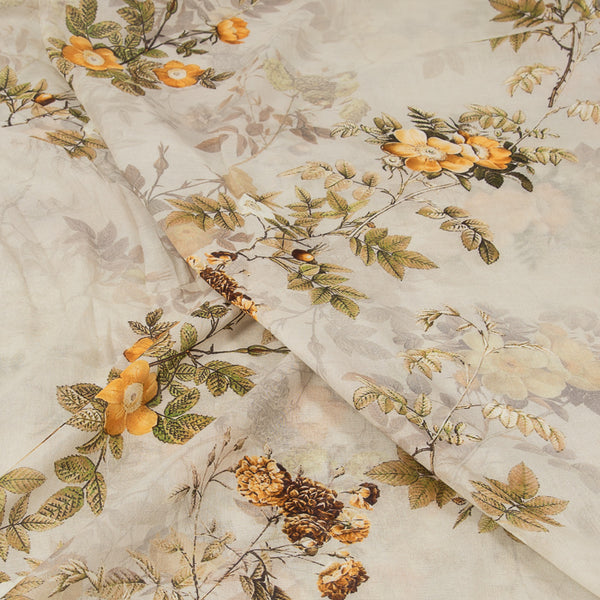 Ivory Colour Floral Butta Print Cotton Mal Fabric