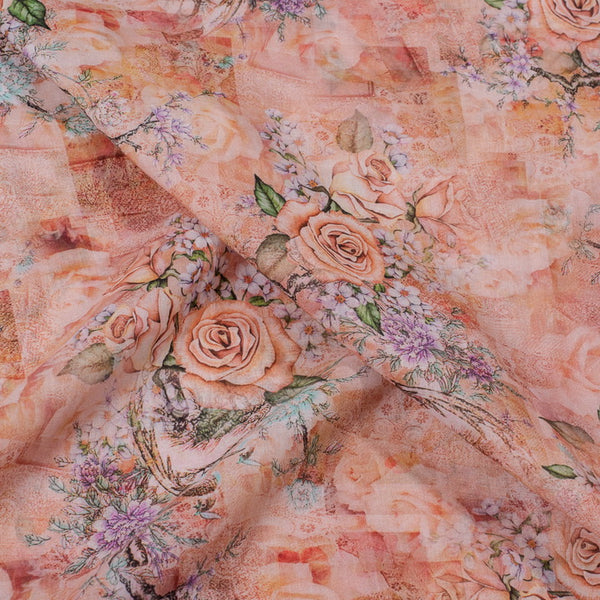 Peach Pink Colour Floral Jaal Print Cotton Mal Fabric
