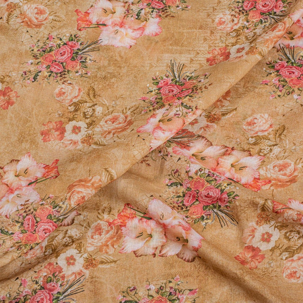 Beige Colour Floral Print Cotton Mal Fabric