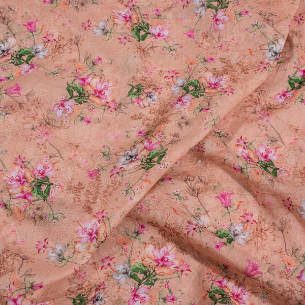 Peach Colour Floral Print Cotton Mal Fabric