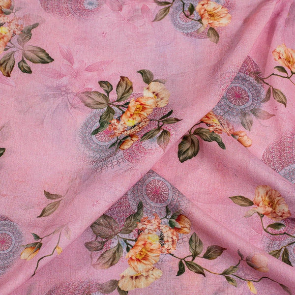 Light Pink Colour Floral Print Cotton Mal Fabric