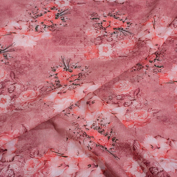 Dusty Pink Colour Floral Print Cotton Mal Fabric