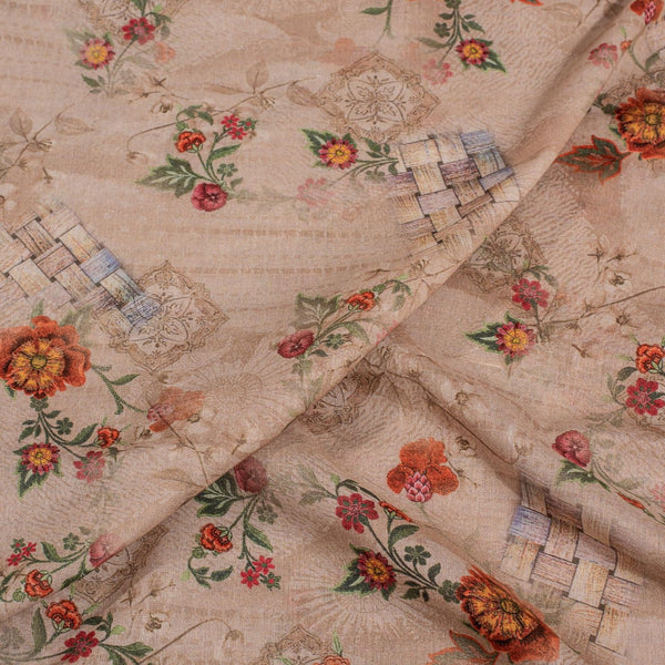 Nut Brown Colour Floral Print Cotton Mal Fabric