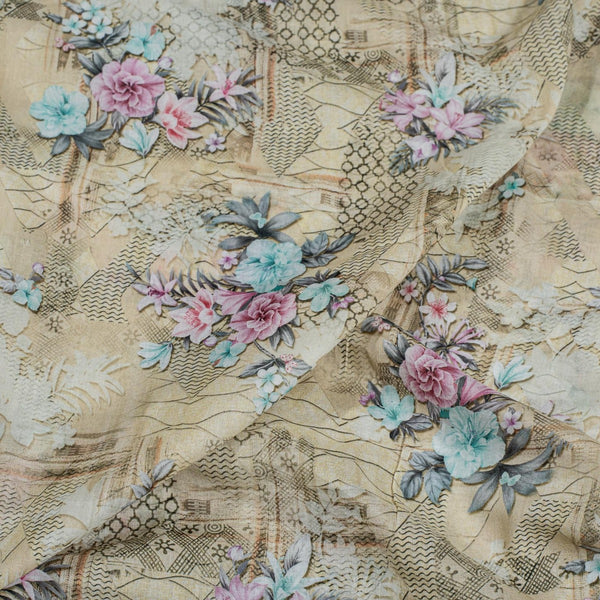 Ivory Colour Floral Print Cotton Mal Fabric