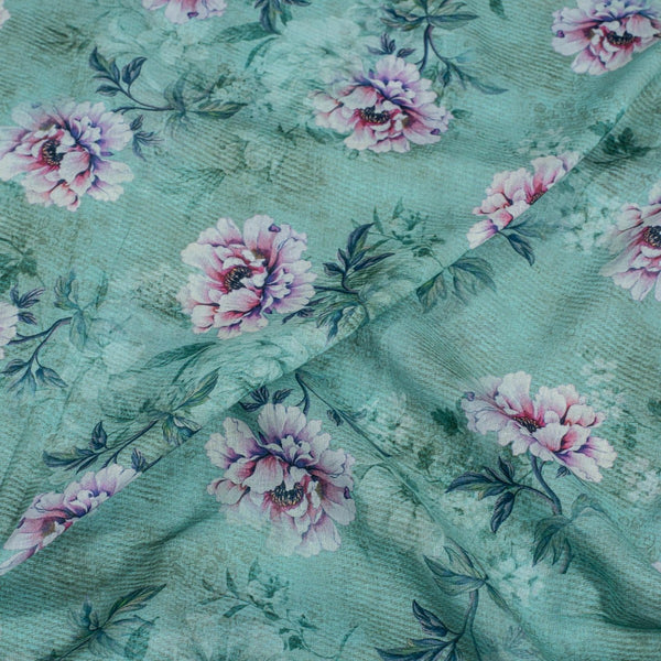 Aqua Sky  Colour Floral Print Cotton Mal Fabric