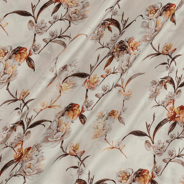Modal Satin Off White Colour Floral Print Fabric