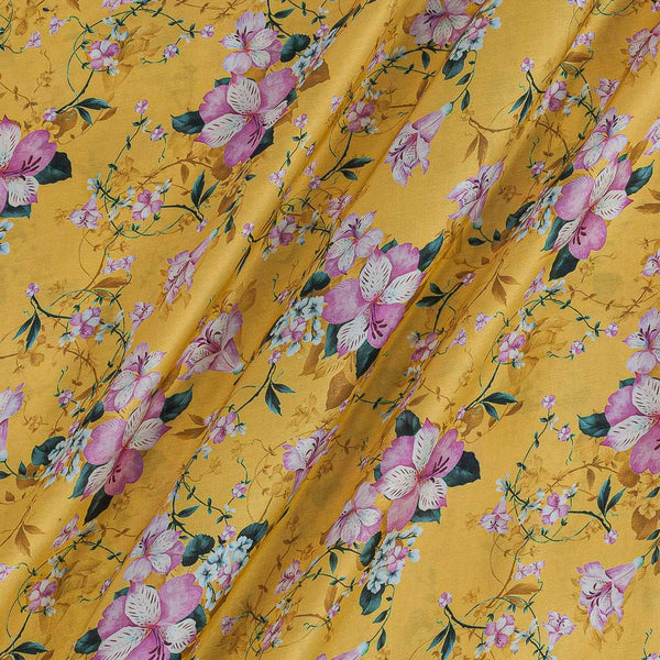 Modal Satin Yellow Colour Floral Print Fabric