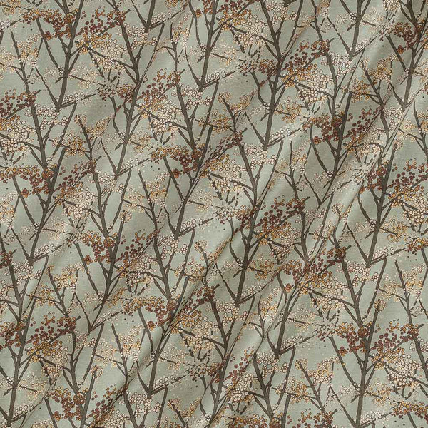 Modal Satin Pale Green Colour Floral Print Fabric