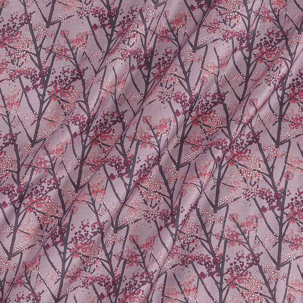 Modal Satin Dusty Pink Colour Floral Print Fabric