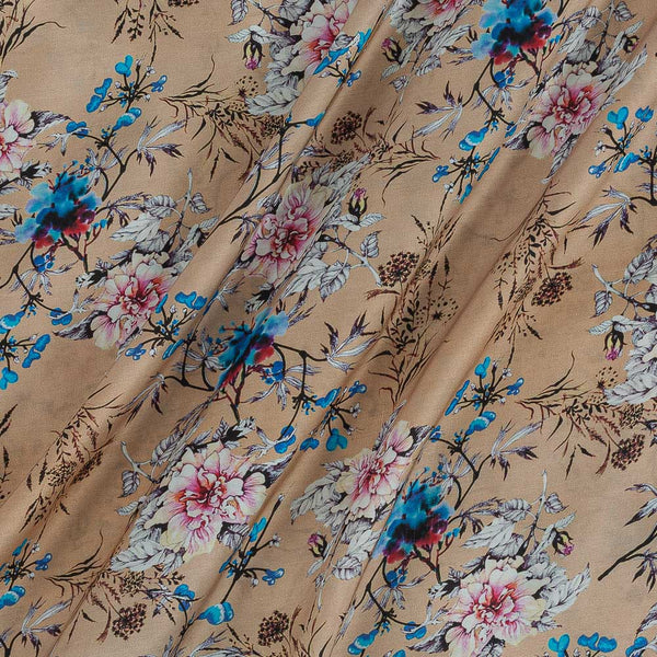 Modal Satin Beige Colour Floral Jaal Print Fabric