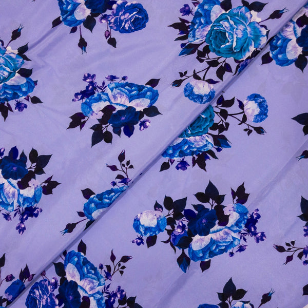 Polyester Crepe Lilac Colour Digital Quirky Print Fabric Cut Of 1 Meter