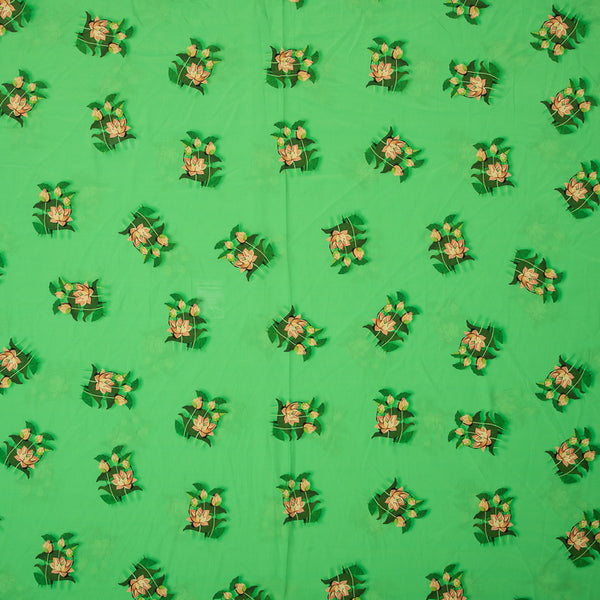 Green Digital Floral Print Poly Crepe Fabric