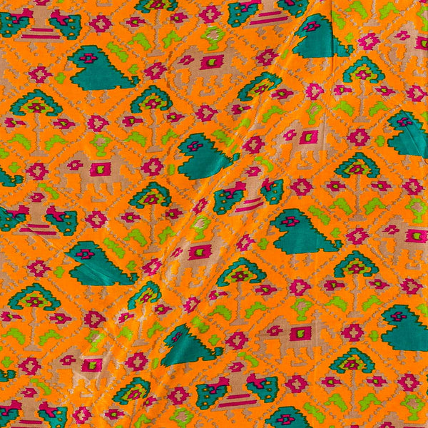 Gaji Patan Patola Print Golden Orange Colour 45 Inches Width Fabric