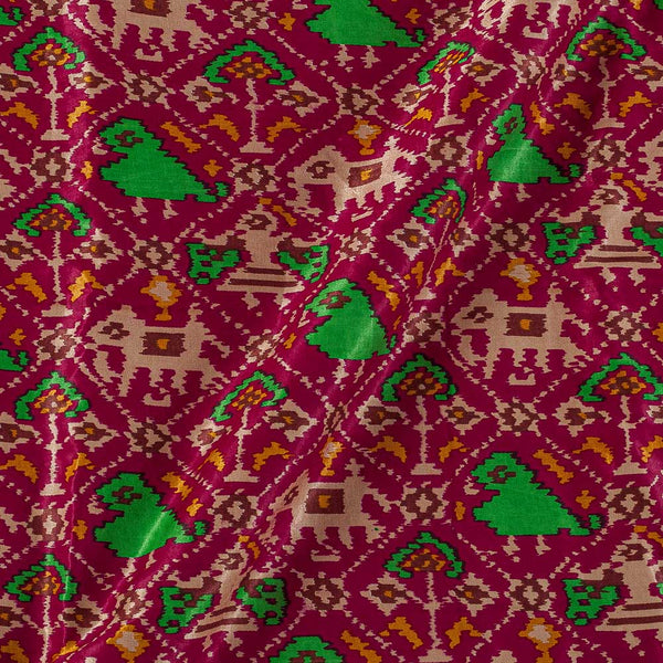 Patola Design Printed Patan Gaji Crimson Colour 45 Inches Width Fabric