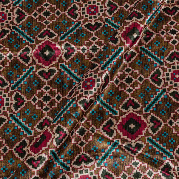 Patola Design Printed Patan Gaji Brown Colour 45 Inches Width Fabric