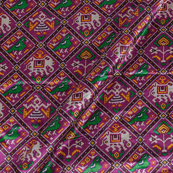 Patola Design Printed Patan Gaji Magenta Colour 45 Inches Width Fabric