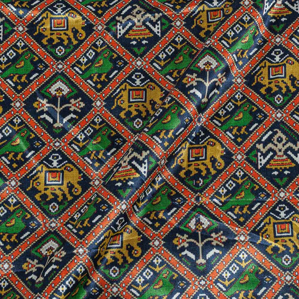 Patola Design Printed Patan Gaji Navy Blue Colour 45 Inches Width Fabric