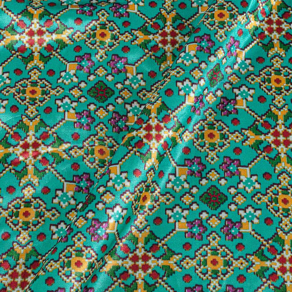 Patola Design Printed Patan Gaji Sea Green Colour Fabric