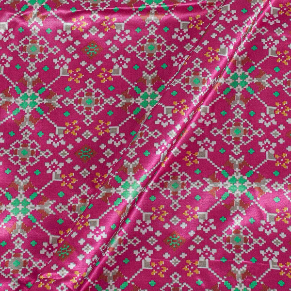 Patola Design Printed Patan Gaji Pink Colour Fabric