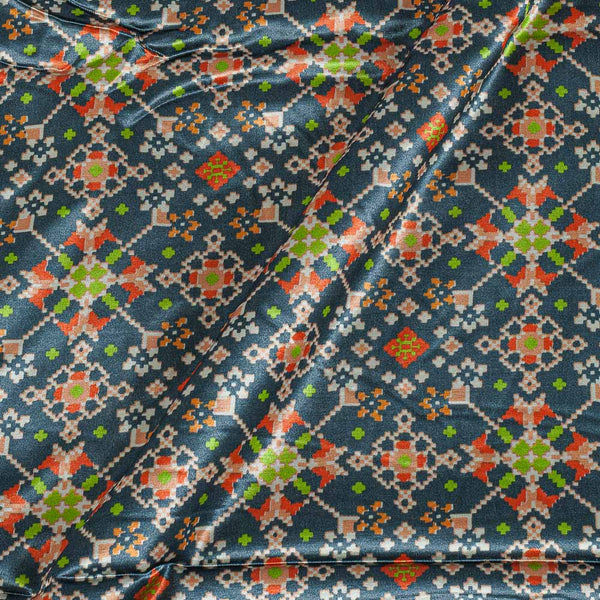 Patola Design Printed Patan Gaji Steel Grey Colour Fabric