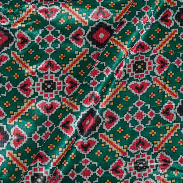 Patola Design Printed Patan Gaji Green Colour Fabric