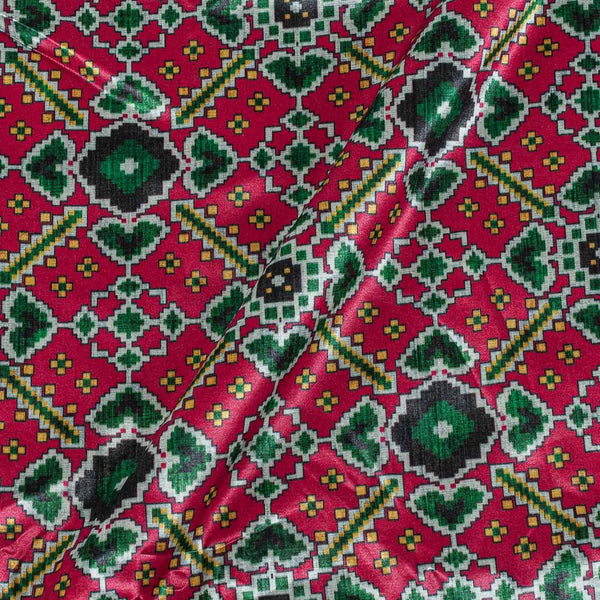 Patola Design Printed Patan Gaji Crimson Red Colour Fabric
