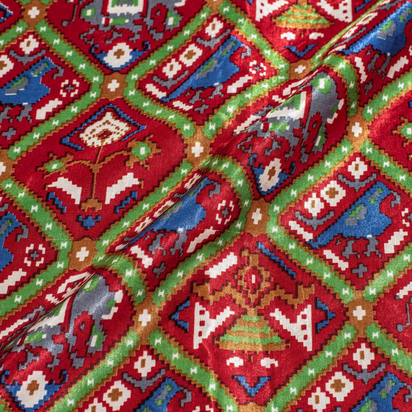 Maroon Color Digital Patan Patola Print Gaji Fabric