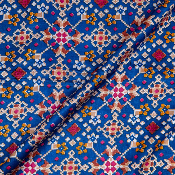 Gaji Patan Patola Blue Colour 46 inches Width Digital Print Fabric