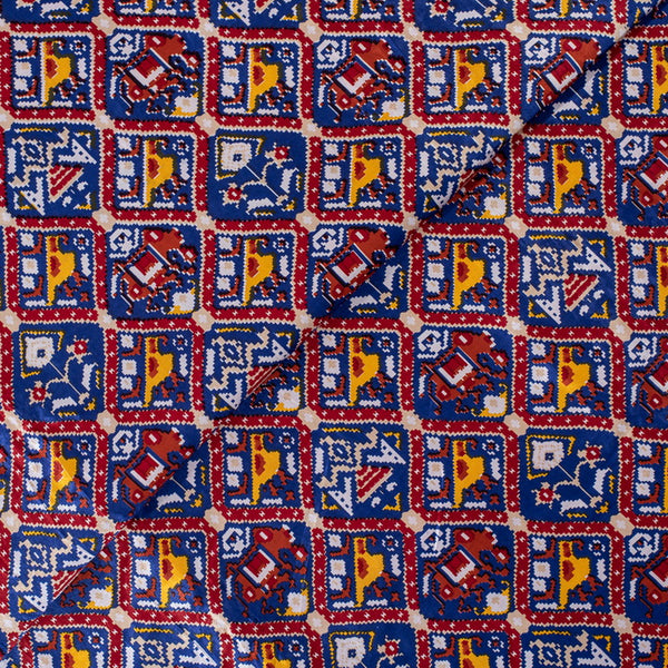 Violet Blue Colour Digital Patan Patola Print Gaji Fabric