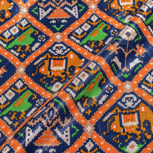 Blue Digital Patan Patola Print Gaji fabric