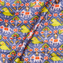 Gaji Patan Patola Digital Print Cadet Blue Colour 46 inches Width Fabric