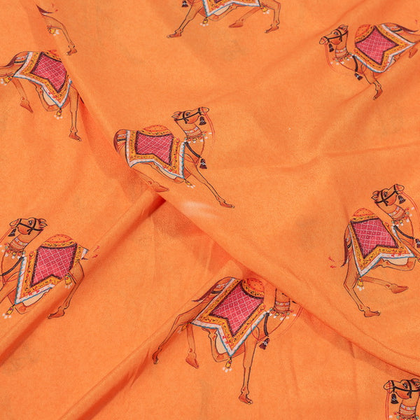 Orange Colour Quirky Digital Print Poly Crepe Fabric