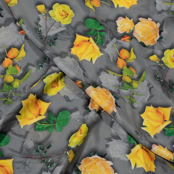 Grey Colour Floral Digital Print Poly Crepe Fabric