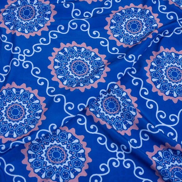 Blue Colour Floral Digital Print Poly Crepe Fabric