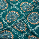 Teal Colour Floral Digital Print Poly Crepe Fabric