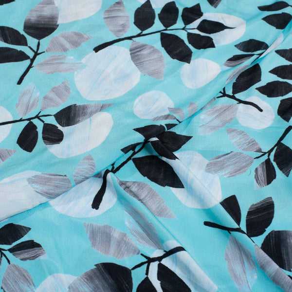 Fair Aqua Colour Floral Digital Print Poly Crepe Fabric