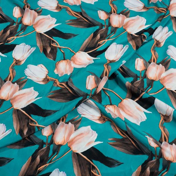 Emerald Green Colour Floral Digital Print Poly Crepe Fabric