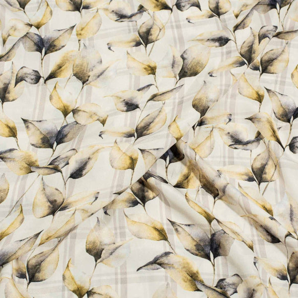 Off White Colour Floral Digital Print Poly Crepe Fabric