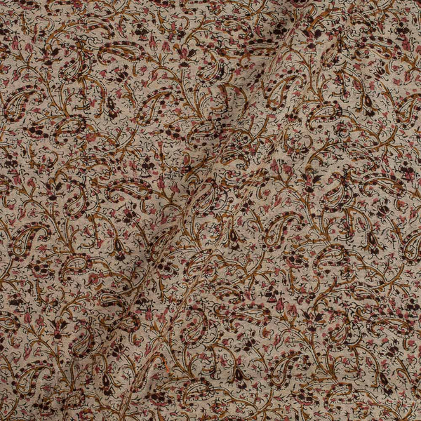 Kora Chanderi Feel Beige Colour 43 Inches Width Paisely Jaal Kalamkari Fabric