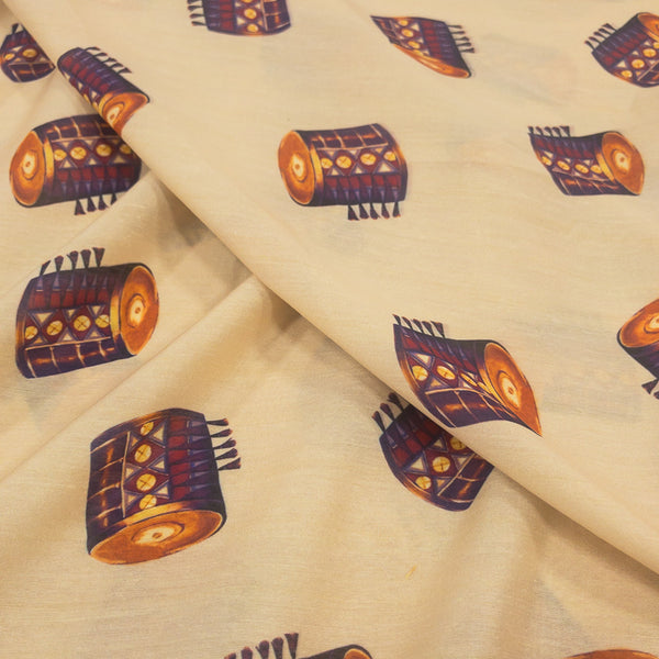 Quirky Digital Print Poly Muslin Fabric