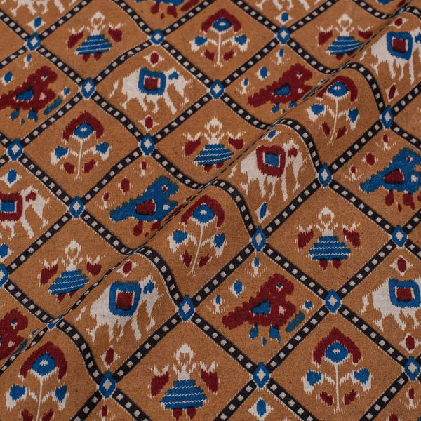 Brown Colour Patola inspired Print Cotton Fabric