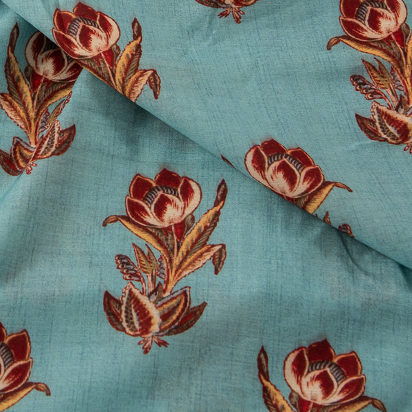 Cambridge Blue Colour Abstract Digital Prints Viscose Muslin Fabric  Width 40 inch