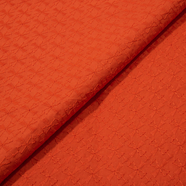 Tangerine Orange Colour Chikankari Work Poly Cotton Fabric