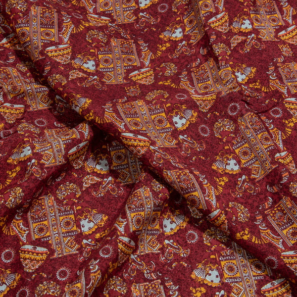 Digital Village Print Assam Silk Fabric