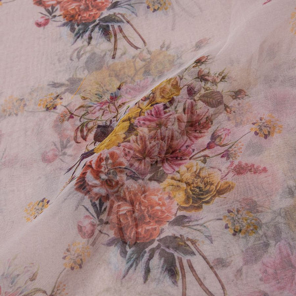 Poly Organza Beige Color 45 Inches Width Digital Floral Prnt Fabric