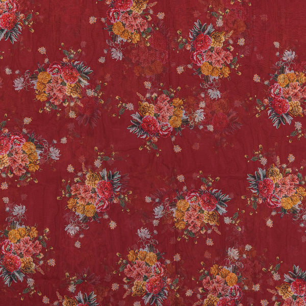 Poly Organza Maroon Colour 45 Inches Width Digital Floral Print Fabric
