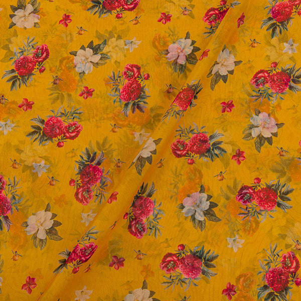 Poly Organza Yellow Colour 45 Inches Width Digital Floral Print Fabric