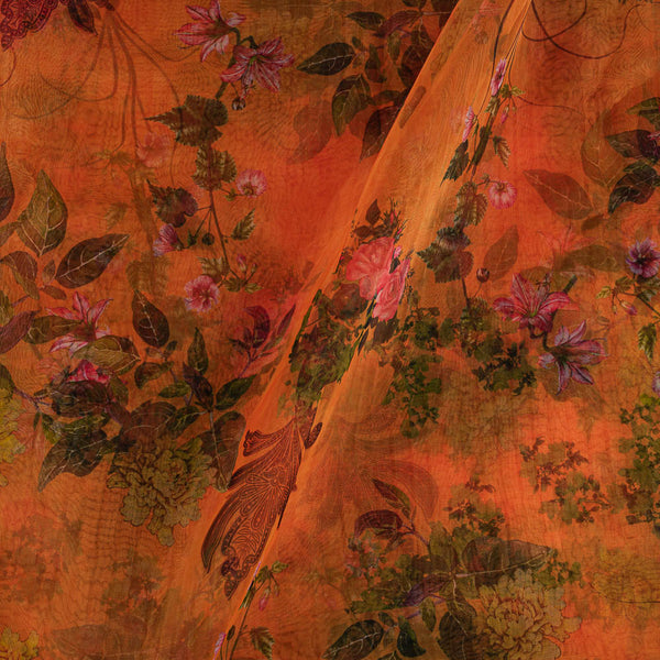Poly Organza Tangerine Orange Colour 45 Inches Width Digital Floral Print Fabric